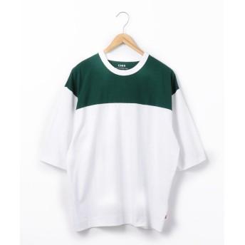 (coen/コーエン)USAコットン切替フットボールハーフスリーブTシャツ/メンズ WHITE