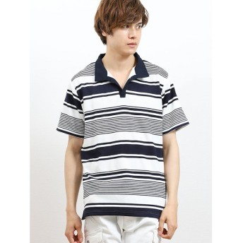 (semanticdesign/セマンティックデザイン)リップルボーダー衿ワイヤースキッパー半袖ポロシャツ/メンズ ネイビー