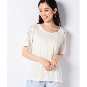 (Desigual/デシグアル)クロシェレース付き半袖Tシャツ/レディース ホワイト系