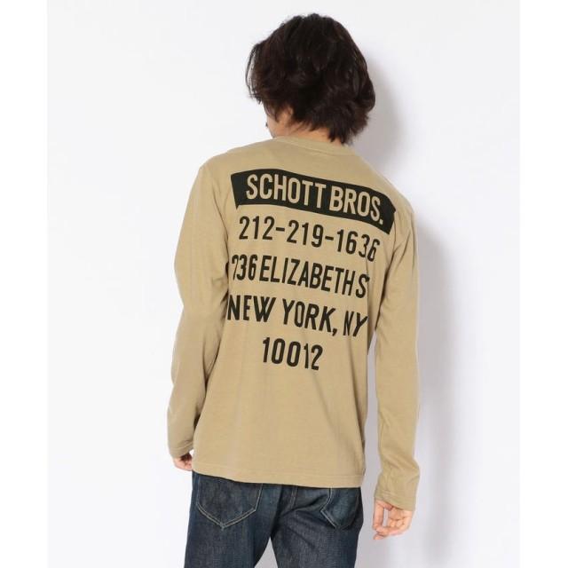 (Schott/ショット)【WEB限定】LS T-SHIRT STORE ADRRESS/ストア アドレスTシャツ/メンズ KHAKI