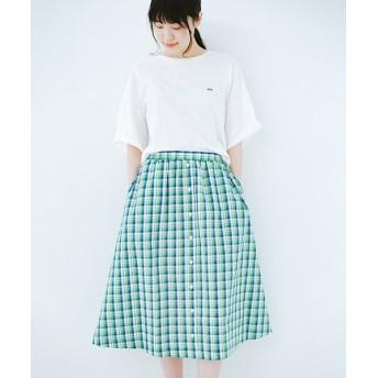 (haco!/ハコ)【mer8月号掲載】ドキドキした気持ちになりたい時の華やかチェックフレアースカート/レディース グリーン