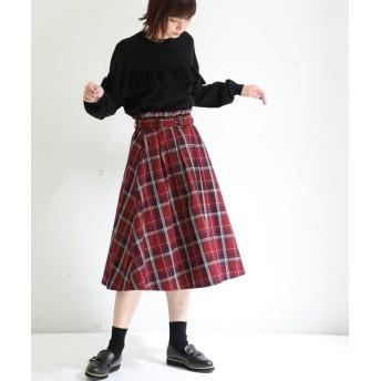 (Honeys/ハニーズ)ベルト付フレアスカート/レディース レッド