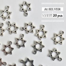 金属チャーム・六芒星アンティークシルバー(20個)
