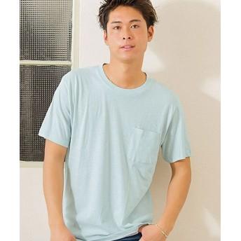 (VICCI/ビッチ)VICCI【ビッチ】無地ポケット付きビッグシルエットクルーネック半袖Tシャツ/メンズ サックス