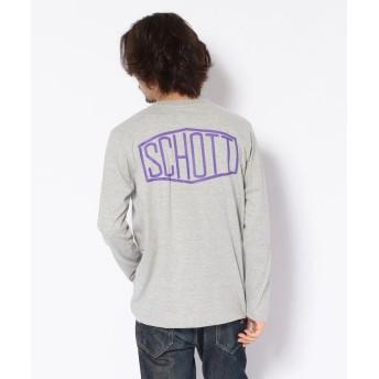 (Schott/ショット)【WEB限定】LS T-SHIRT HEXAGON/ヘキサゴン ロゴ Tシャツ/メンズ GREY