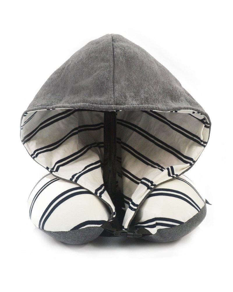 黑白間條有帽記憶棉頸枕