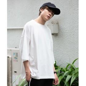 (WEGO/ウィゴー)WEGO/ステッチポケットビッグ5分袖Tシャツ/メンズ ホワイト