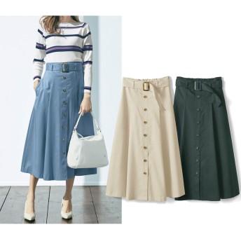 (ソロテックス(R)使用)リヨセル混ミモレ丈スカート