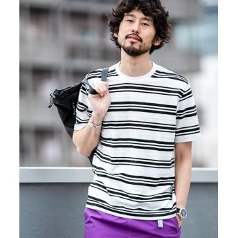 (nano・universe/ナノユニバース)【WEB限定】ヘリンボンMIXボーダーTシャツ 半袖/メンズ パターン1