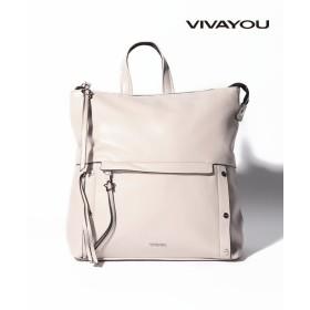(VIVA YOU(BAG&WALLET)/ビバユーバッグアンドウォレット)【VIVAYOU ビバユー】レザー調合皮A4スクエアリュック/レディース グレー