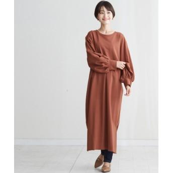(HAPPY EXP/ハッピーキュウビン)パフ袖ミニ裏毛ワンピース/レディース ブラウン