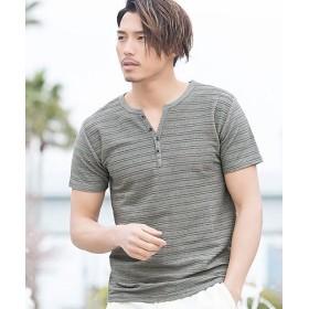 (VICCI/ビッチ)VICCI【ビッチ】タックジャガードヘンリーネック半袖Tシャツ/メンズ グレー