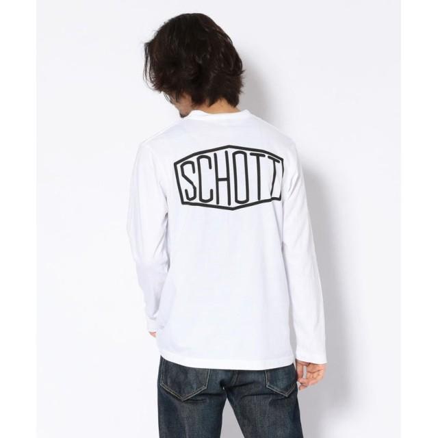 (Schott/ショット)【WEB限定】LS T-SHIRT HEXAGON/ヘキサゴン ロゴ Tシャツ/メンズ WHITE