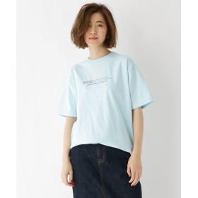 (BASECONTROL/ベースコントロール)プリント+刺繍ロゴ半袖Tシャツ/レディース サックス(090)