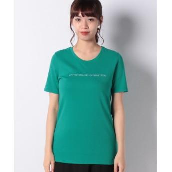 (BENETTON (women)/ベネトン レディース)ロゴクルーネック半袖Tシャツ・カットソー/レディース ダークグリーン