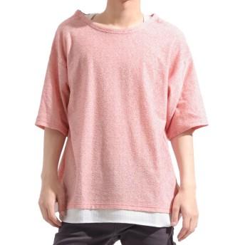 (Valletta/バレッタ)【Valletta】 ワッフルタンクトップフェイクレイヤードランダムパイルTシャツ[c219418] Tシャツ パイル 無地 丈長 ロング ロング丈/メンズ ピンク