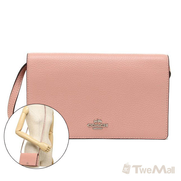 COACH  荔枝紋皮革 掀蓋手機包/斜背包/手拿包(粉)