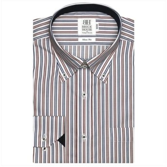 (BRICKHOUSE/ブリックハウス)ワイシャツ長袖形態安定 ボタンダウン エンジ系 スリム/メンズ ピンク・レッド
