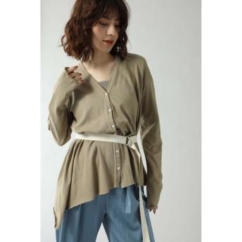 (ROSE BUD/ローズバッド)バックオープンロングTシャツ/レディース ベージュ