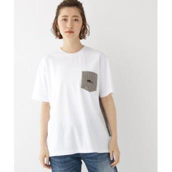 (BASECONTROL/ベースコントロール)バックチェック 別地 切り替え 半袖 Tシャツ/レディース アイボリー(004)