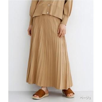 (merlot/メルロー)ストライプフレアニットスカート/レディース ベージュ