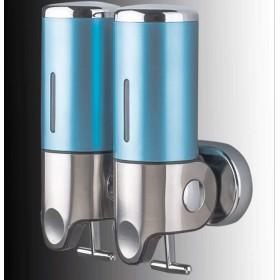 ソープディスペンサー 浴室の壁の台紙の石鹸ディスペンサーのステンレス鋼の手ポンプ二重シャンプーの石鹸ディスペンサーの石鹸の容器 バスルームソープディスペンサー (Color : Sky blue, サイズ : Double)