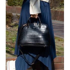 (UNGRID bag/アングリッド バッグ)スカーフ付クロコ風型押しボストンバッグ Mサイズ/レディース BLK