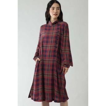 (ROSE BUD/ローズバッド)CHECK PRINT BUTTON DRESS/レディース ネイビー