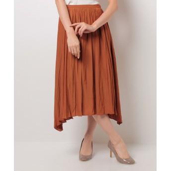 (allureville/アルアバイル)デシンギャザースカート/レディース ブラウン系