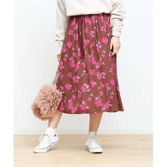 (Rouge vif la cle/ルージュヴィフラクレ)ベルト付きフラワースカート/レディース ブラウン