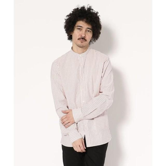 【RAWLIFE】CAPRI/カプリ/stripe stand collar shirts with big pocket