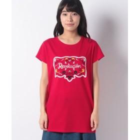 (SISLEY/シスレー レディス)刺繍プリント半袖Tシャツ・カットソー/レディース レッド