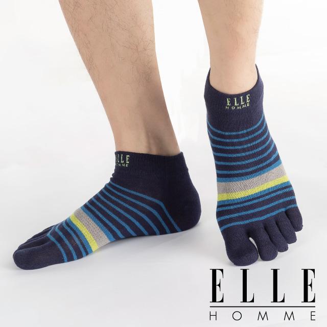 【ELLE HOMME】撞色刺繡條紋五趾男襪