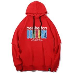 メンズパーカーフェイクツーピースカラフルスクエアプリントコットンスウェットヒップホップストリートメンズパーカーカジュアルストリートフード付きプルオーバー長袖パーカー (Color : Full Red, Size : L)