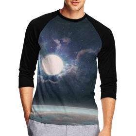 七分袖Tシャツ メンズ 中袖 吸水速乾 シンプル 無地 おしゃれ はてない宇宙 恒星 創意デザイン 男性Tシャツ スタイリッシュ おもしろ カジュアル スポーツ