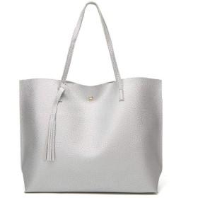Qukick 女性PUレザー女性のハンドバッグ女性ショルダーバッグデザイナーラグジュアリーレディートート大容量のショルダーバッグ#Y (色 : Silver)