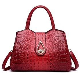 Qukick FLYONEヴィンテージファッションクロコダイル本革の高級ハンドバッグの女性のバッグデザイナー女性のショルダーバッグレディースBolsas Feminina (色 : Burgundy, サイズ : 34cmX16cmX24cm)