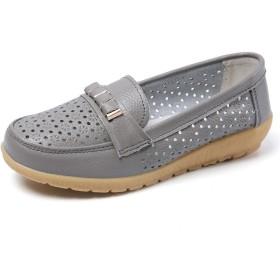 MMA-LX Woman High-heeled Shoes レジャーシューズソリッドカラースターヴヘッド裁縫装飾中空シューズ (Color : Grey, Size : 38 EU)