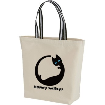 Honey Smileys(ハニースマイリーズ) 猫好き必見! イニシャル トートバッグ 猫 キャット ランチバッグ 手提げバッグ かばん ハニースマイリーズ オリジナル お揃い プレゼント ギフト キャンバス 1460 A~Z (O, ネコ-Lサイズ-ナチュラル-ブラックホワイト)
