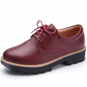 MMA-LX Woman High-heeled Shoes オックスフォード婦人フォーマル春と秋の靴ソリッドラウンドヘッドレースアップシューズ (Color : Wine red, Size : 36 EU)