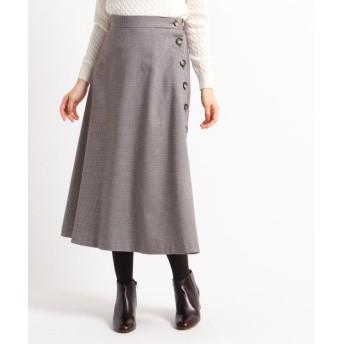 (Dessin/デッサン)【XS~Lサイズあり】ボタンチェックAラインスカート/レディース ボルドー(264)