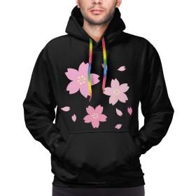 パーカー 長袖シャツ メンズ ポケットある おしゃれ 綺麗 桜 プリント ゆったり スウェット 大きいサイズ プルオーバー 春 秋 冬