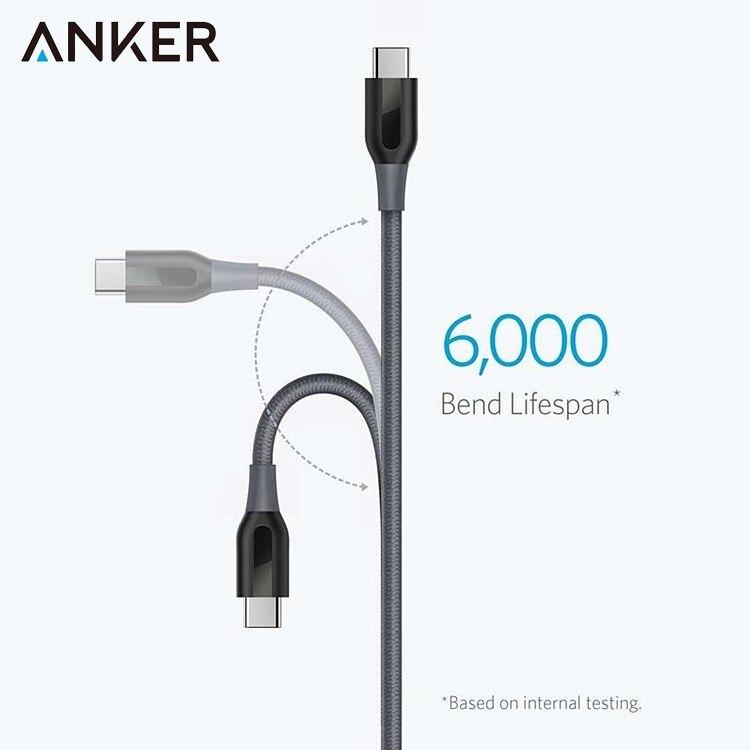又敗家@美國Anker傳輸充電線Powerline+尼龍編織USB-C轉USB充電線3公尺數據同步線充電數據線A82670A1