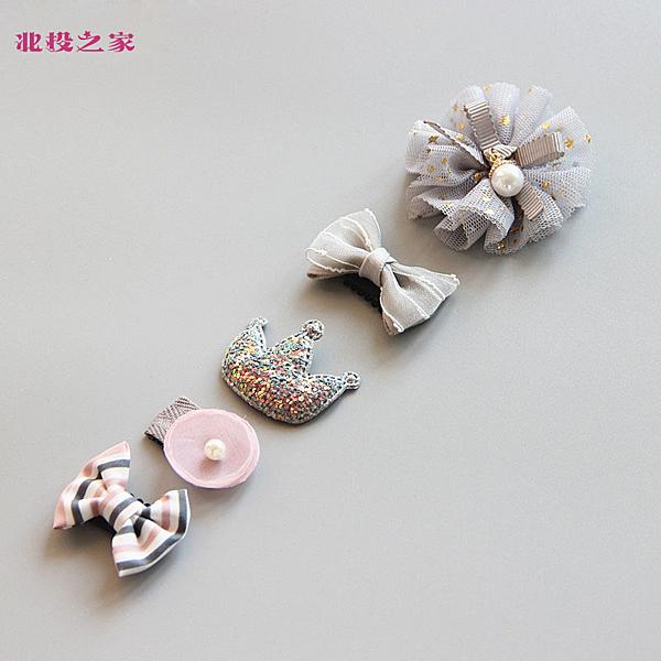 韓系汗毛夾 禮盒五件組 髮量少推薦的兒童髮夾 閃亮灰皇冠 (嬰幼兒/寶寶/小孩/髮飾/頭飾)