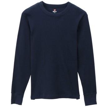 (ヘインズ)Hanes ロングスリーブ Tシャツ BEEFY-T サーマル HM4-Q103 メンズ トップス 長袖 ワッフル ネイビー(370) XL