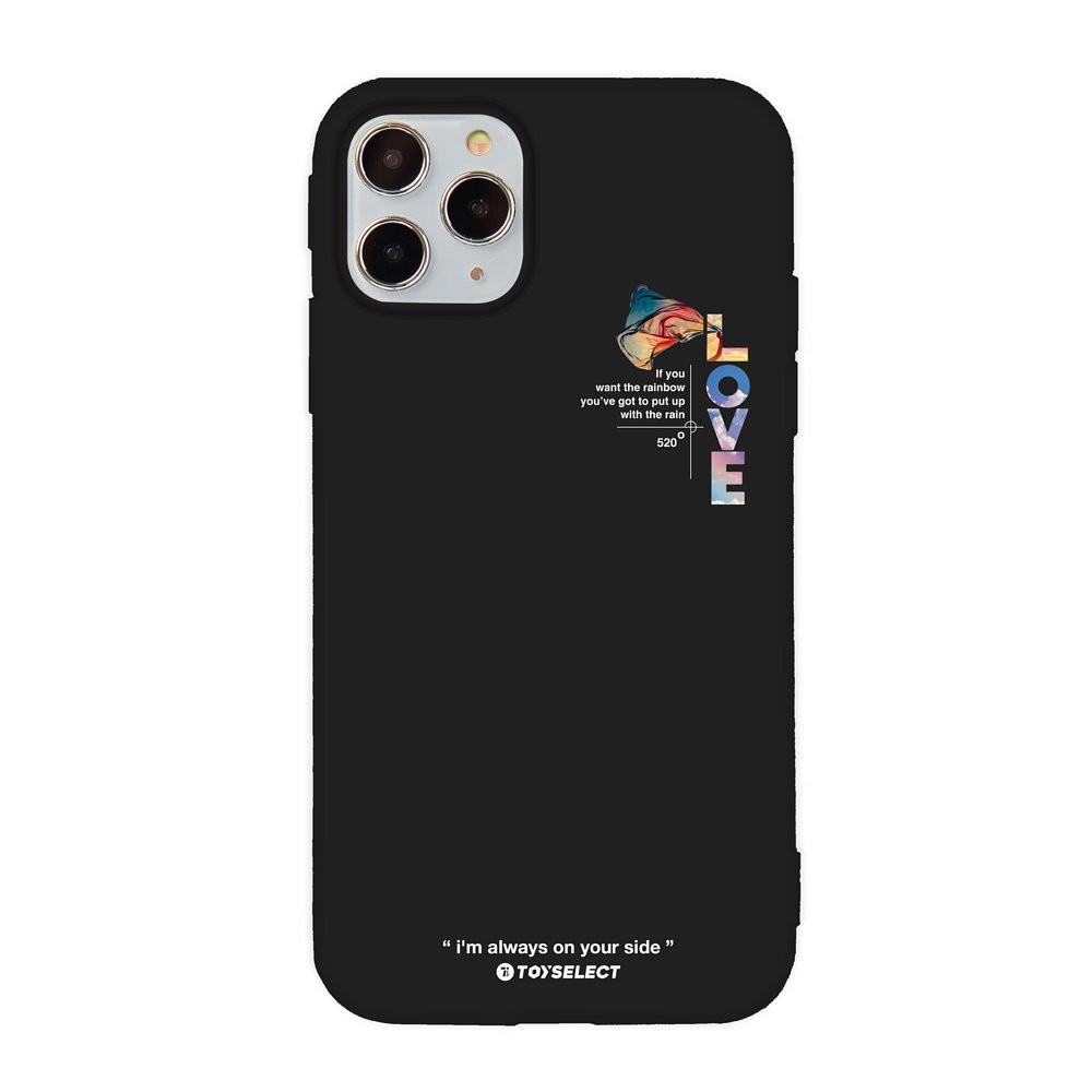 【TOYSELECT】愛最大紀念版彩虹設計iPhone手機殼:LOVE彩虹旗 (黑色)