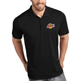 デイリーカジュアル印刷ポロシャツビジネスラペルトップ、ロサンゼルス・レイカーズTシャツ、通気性、野外活動 (Color : Black, Size : XL)