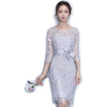 ヴィンテージ花ミッドスリーブレースラウンドネックカクテルフォーマルスイングドレス女性 (Color : Silver Grey, Size : S)