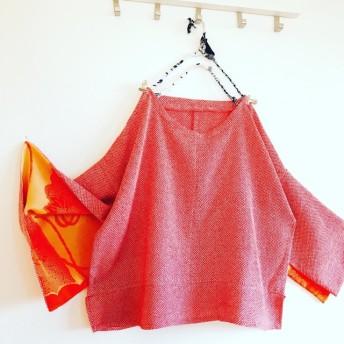 【再販】着物リメイク 総絞り柄 スリットスリーブの着物リメイクトップス
