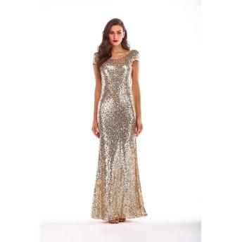 ラウンドネックバックレス floewrパターン床の長さスパンコールパフォーマンス衣装ナイトクラブゴールドAラインセクシーなスリップドレス、 (Color : Gold, Size : L)